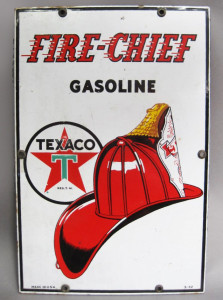 Fire Chief Texaco Gasoline Porcelain Sign