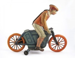German Tin Litho Wind Up Motorcylce Toy