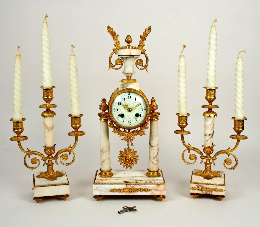 Antique Clock and Candle Garniture Marble Set