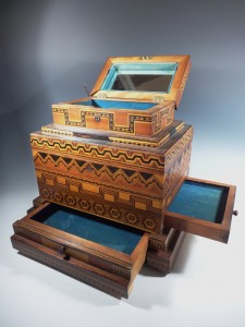 Antique Folk Art Wood Inlay Jewel Box: exceptional furniture