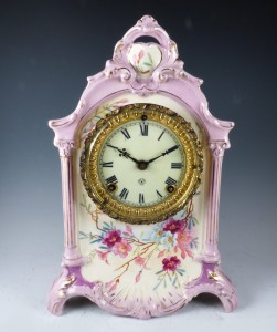 Ansonia Hand Painted Porcelain Mantle Clock:
