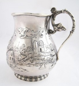 Antique Engraved Sterling Silver Pitcher: Flatware & Hollowware