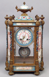 French Champleve Enamel Gilt Bronze Mantle Clock