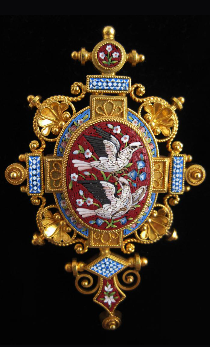 Antique 19th Century Micromosaic Suite Brooch
