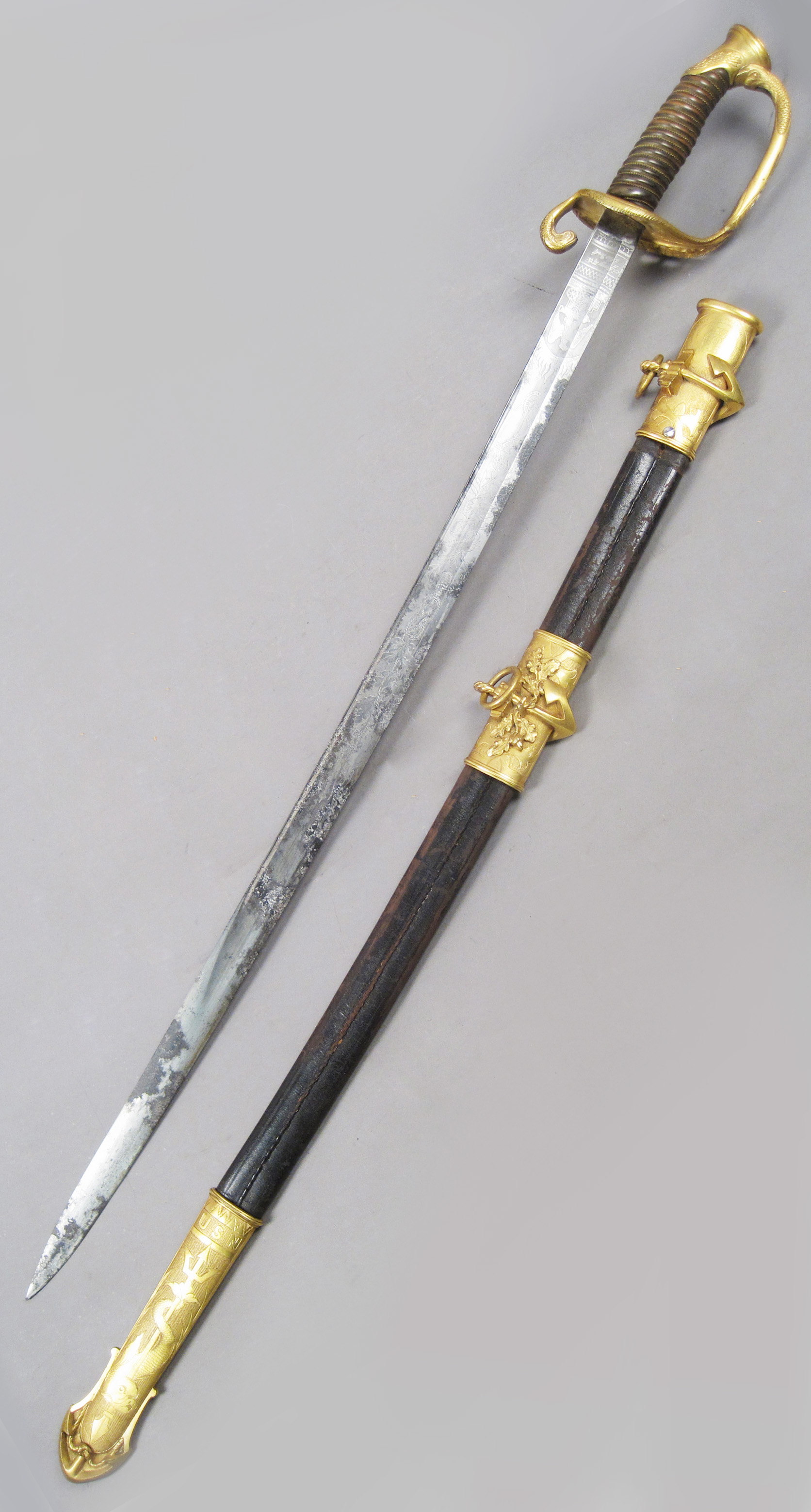 Steel Tiffany Sword with Brass Handle and Scabbard