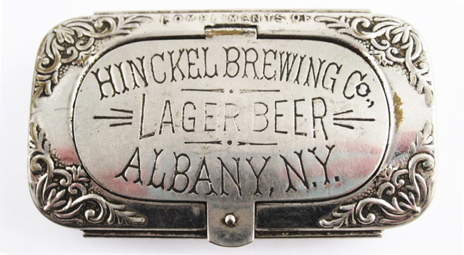 Antique Sterling Silver Hinckel Brewing Albany New York Engraved Advertising Matchbox