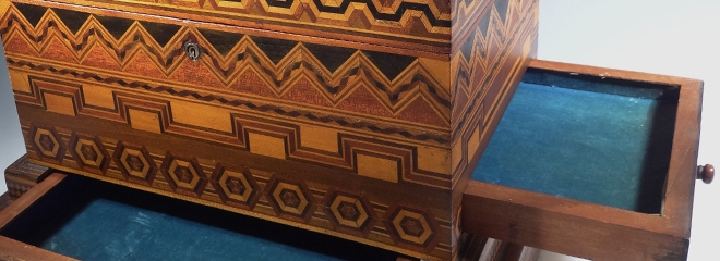 Antique Folk Art Wood Inlay Decorative Jewelry Box