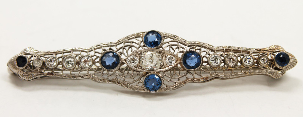 Buy Sell Jewelry - Art Deco Estate Diamond Sapphire Platinum Brooch - Albany NY