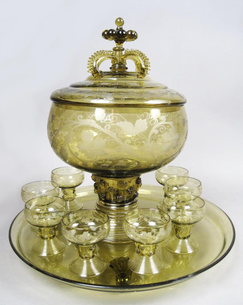 Art Deco Etched Art Glass Punch Bowl Set