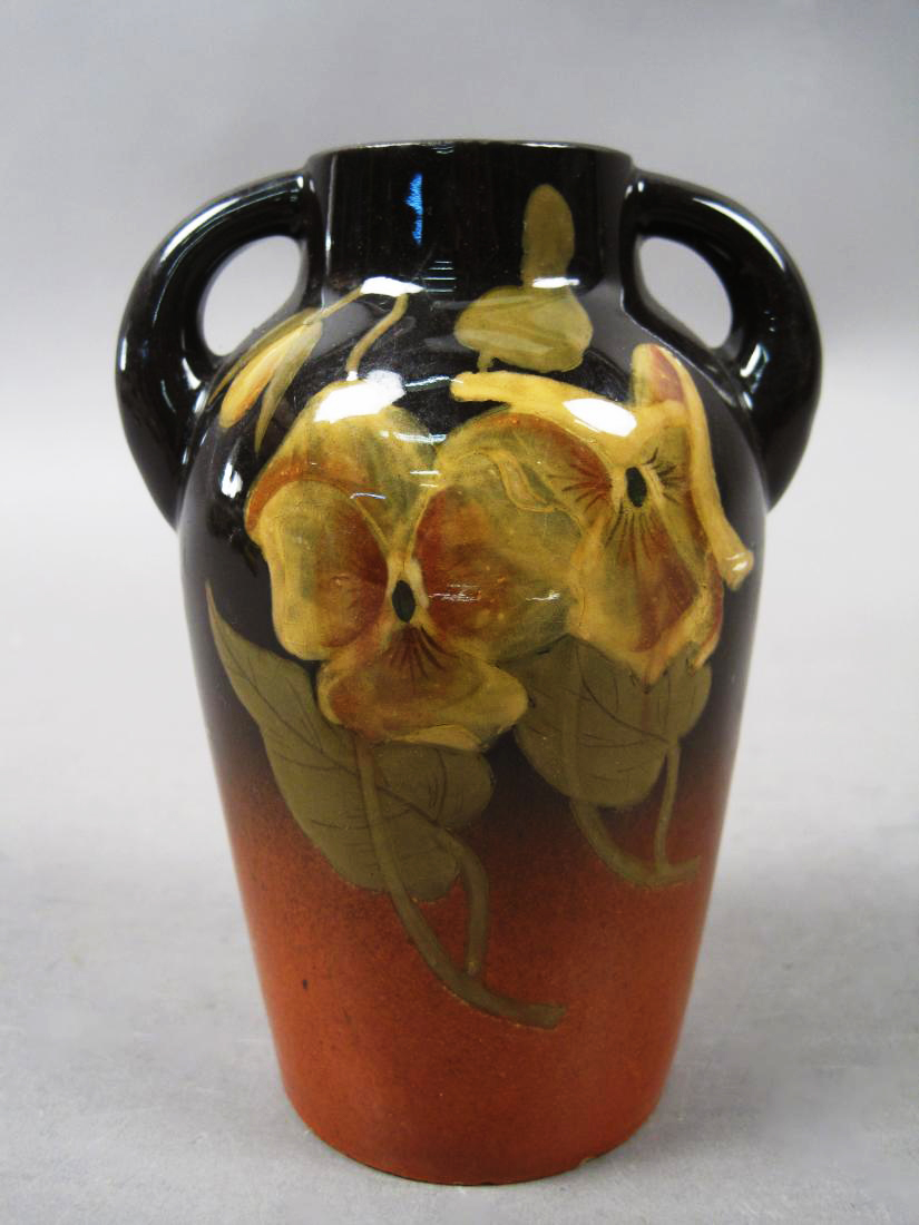 Vintage Hand Painted Glazed Gradient Flowers & Leaves Handled Jug