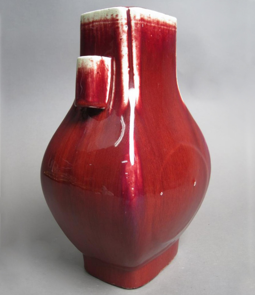 Antique Hand Painted Glazed Porcelain Red Vase