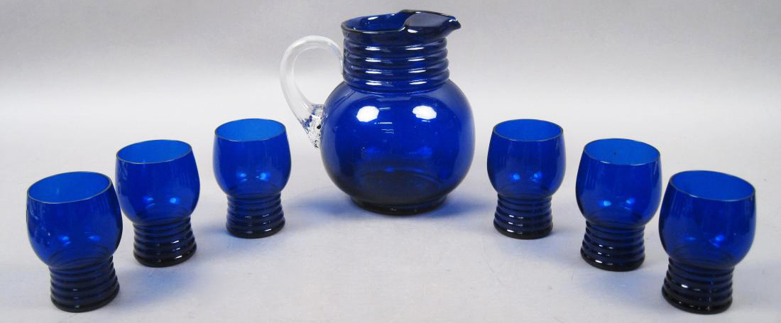 Vintage Cobalt Blue Glass Pitcher and Tumbler Set