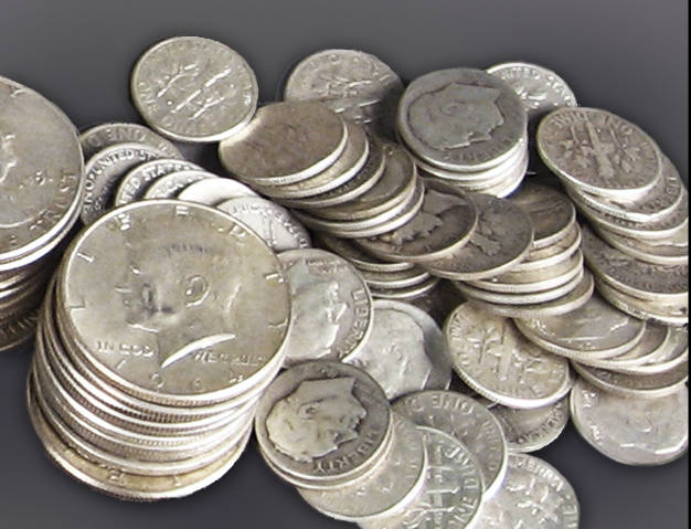 Lot 90% Silver American Coins including Dimes and Half Dollars