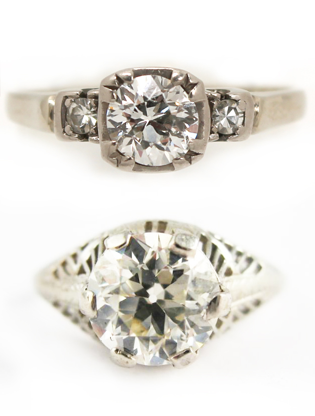 Antique Round Brilliant Cut and Old European Cut Diamond and Platinum Rings