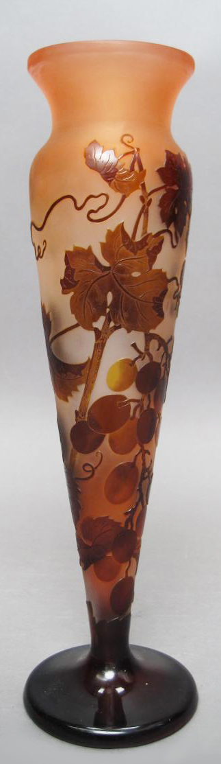 Antique French Grapes Leaves Vines Brown Glass Hand Crafted Galle Vase