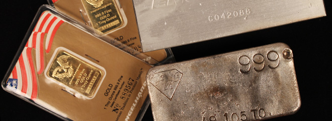 Refinery Produced Investment Grade Gold & Silver Bullion Bars: Gold, silver & platinum bullion
