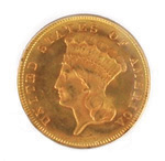 Rare High Grade Uncirculated 1879 US $3 Gold Piece Coin: exciting finds include rare artwork & estate jewelry
