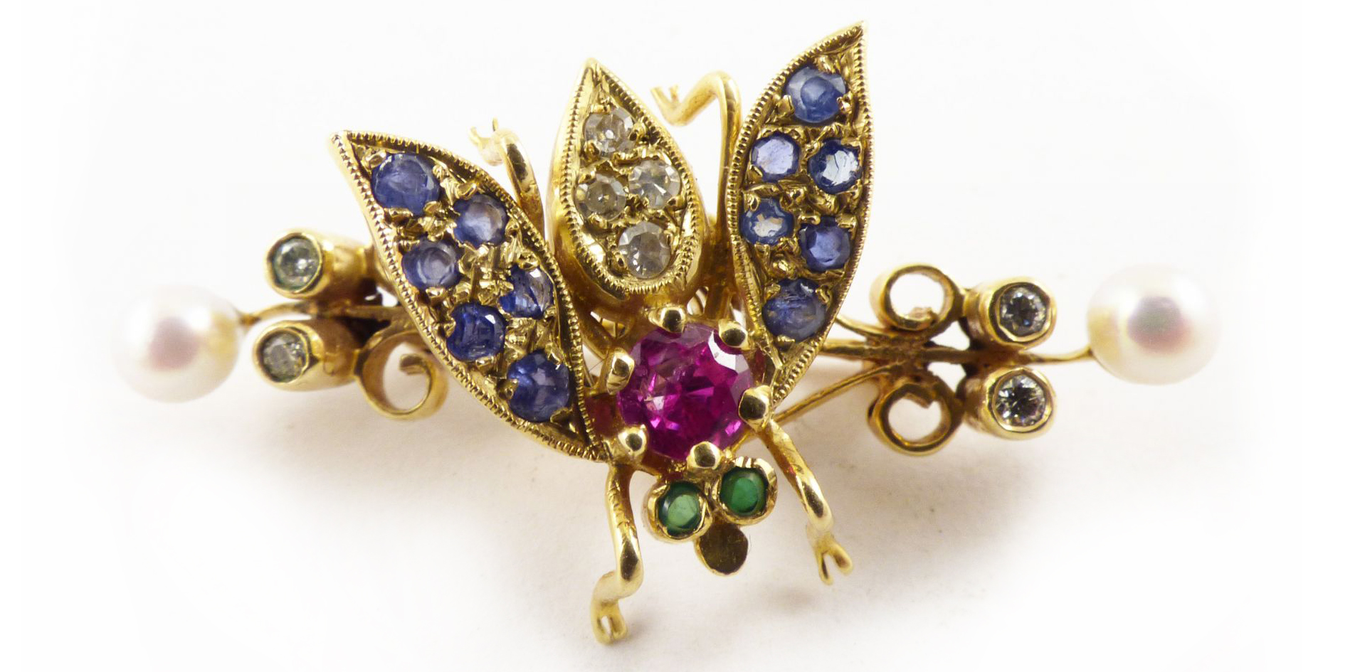 Antique Gold Sapphire Diamond Emerald Insect Brooch