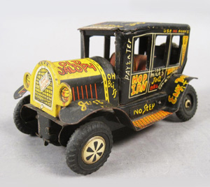 Vintage 1950s Marx Linemar Tin Litho Friction Old Jalopy Toy Car