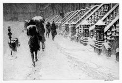 "Early 20th Century American Printmaker Martin Lewis ""Stoops in Snow"": exciting finds include rare artwork & estate jewelry"