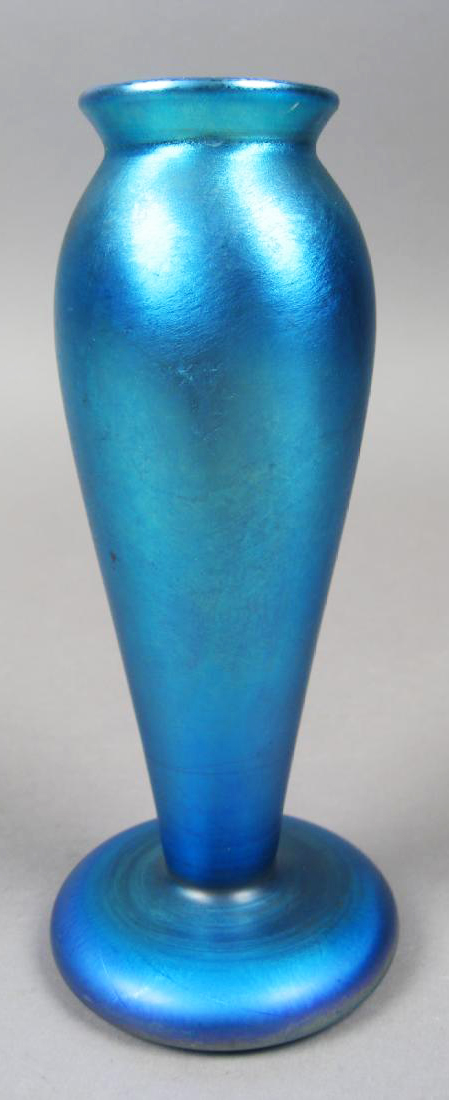 Antique American Quezal Iridescent Blue Glass Bud Vase