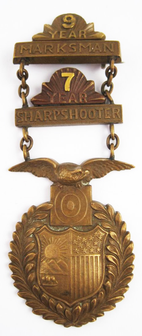 Antique Brass American Sharpshooter Medal
