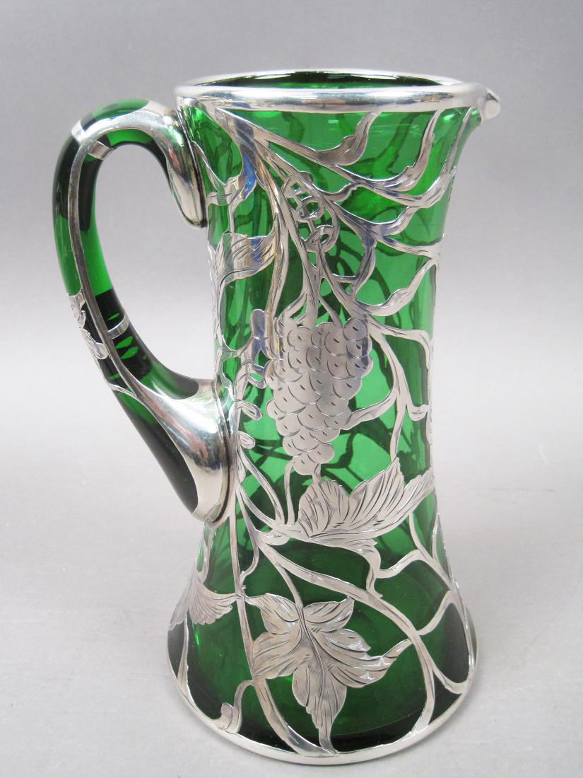Grapes Leaves & Vines Sterling Silver Overlay Emerald Green Art Glass Pitcher