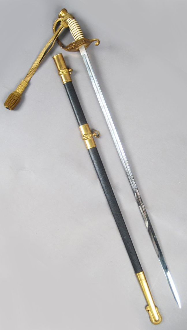 Steel Military Sword with Brass Details and Scabbard