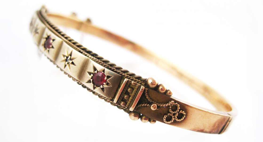 Antique Victorian Gold and Ruby Bracelet