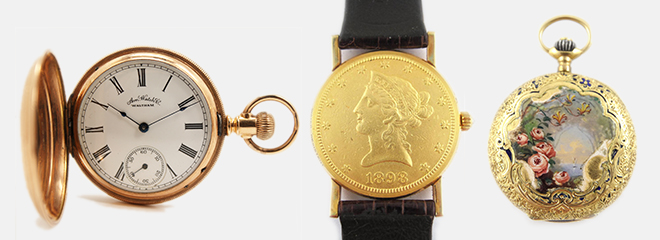 American Waltham 14K Gold Hunter Case Pocket Watch Corum US $20 Liberty Gold Coin Wristwatch C1900 French Floral Enamel Rose 18K Gold Ladies Pendant Watch