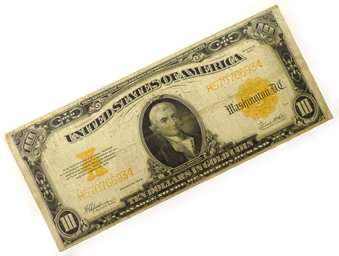 United States of America Gold Certificate 10 Dollar Note