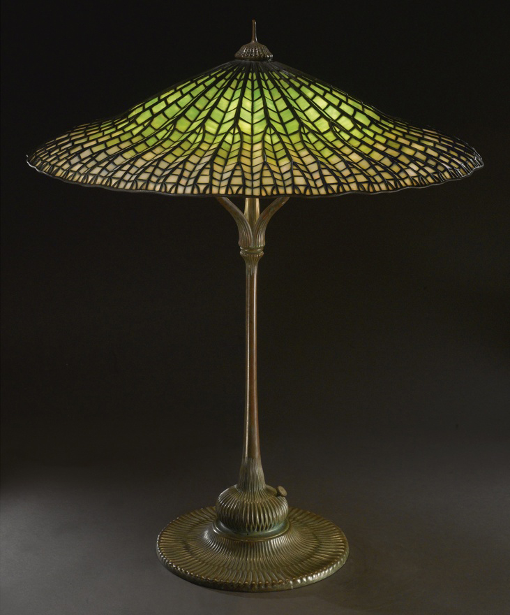 Antique Louis Comfort Tiffany Stained Glass Dragonfly Wing Brass Lamp