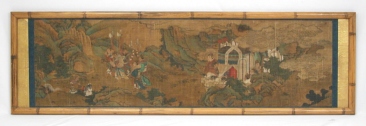Antique Chinese Scroll Painting Landscape War Scene Bamboo Frame