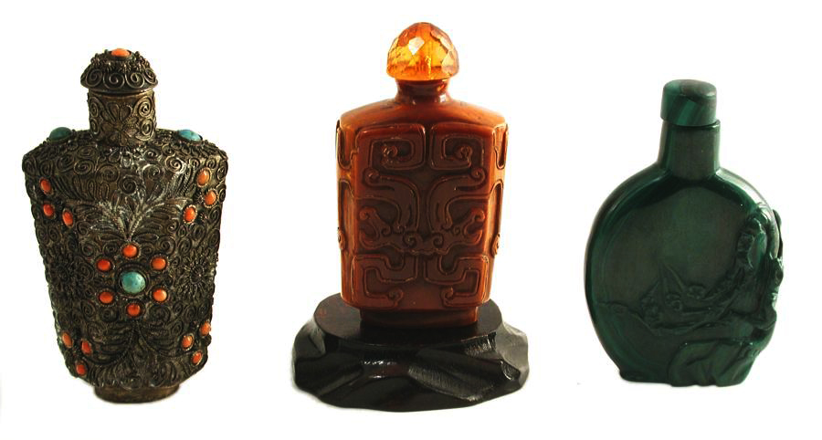 Antique & Vintage Chinese Perfume Bottles Cloisonne Brass Carved Wood Lacquerware Carved Jade
