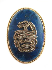 Antique Arabic Lapis Lazuli Stone and Gold Brooch