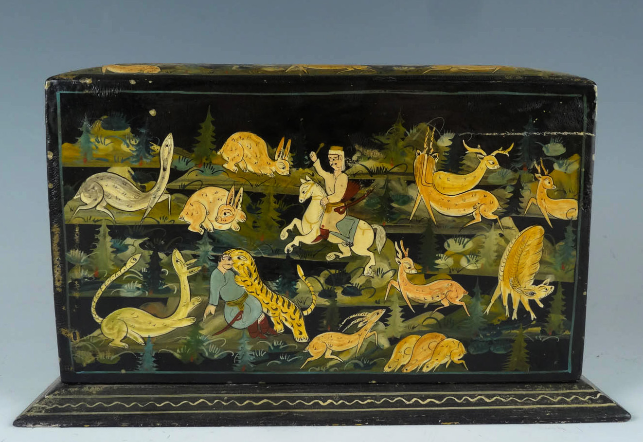 Antique Painted Lacquer Hunting Scene with Deer, Tiger, Man on Horse