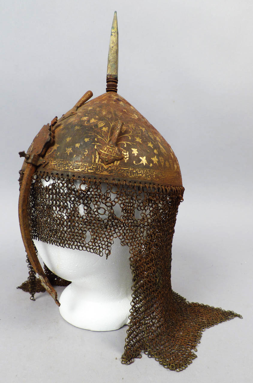 Gilded Arabic Calligraphy Spiked Helmet with Chain Mail