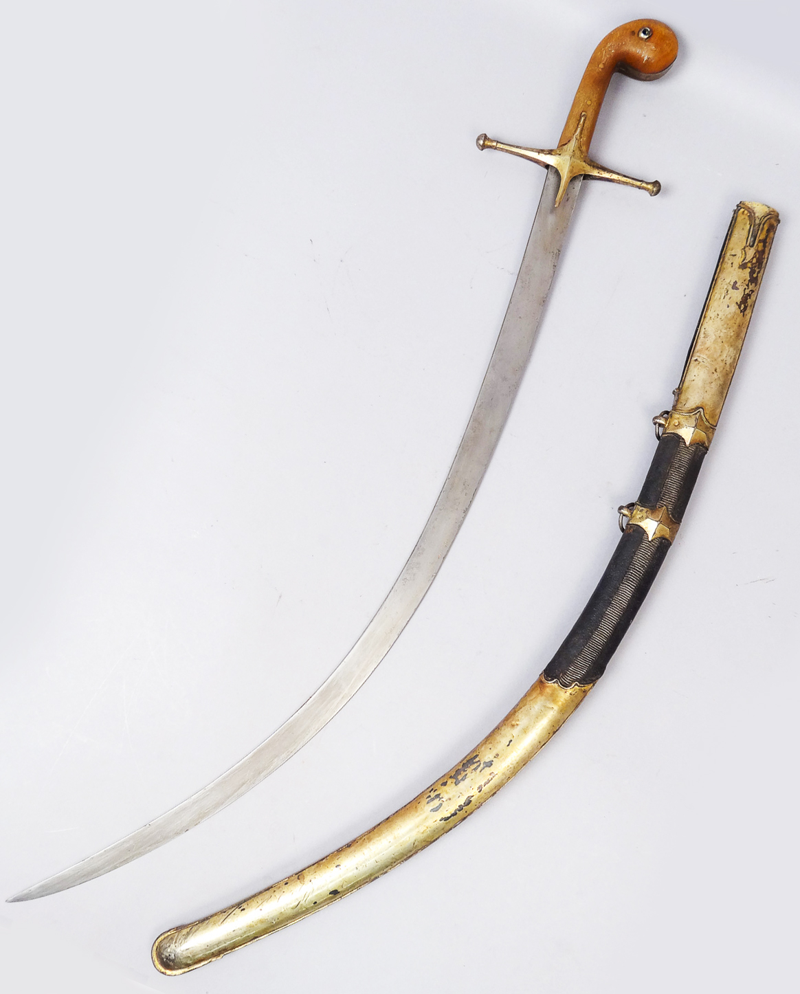 Arabic Steel and Wooden Handled Saber with Scabbard