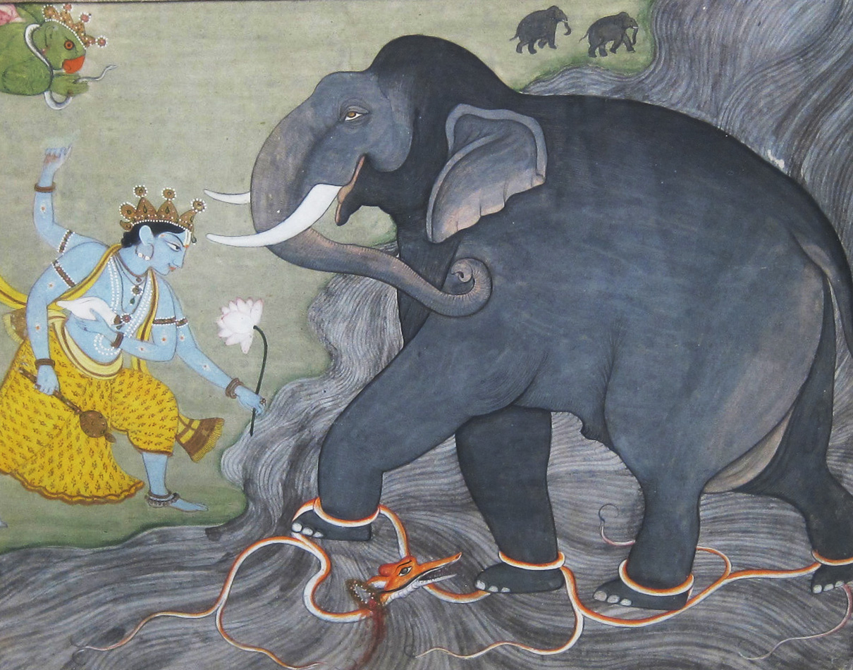 Indian Miniature Painting Elephant Dragon and God