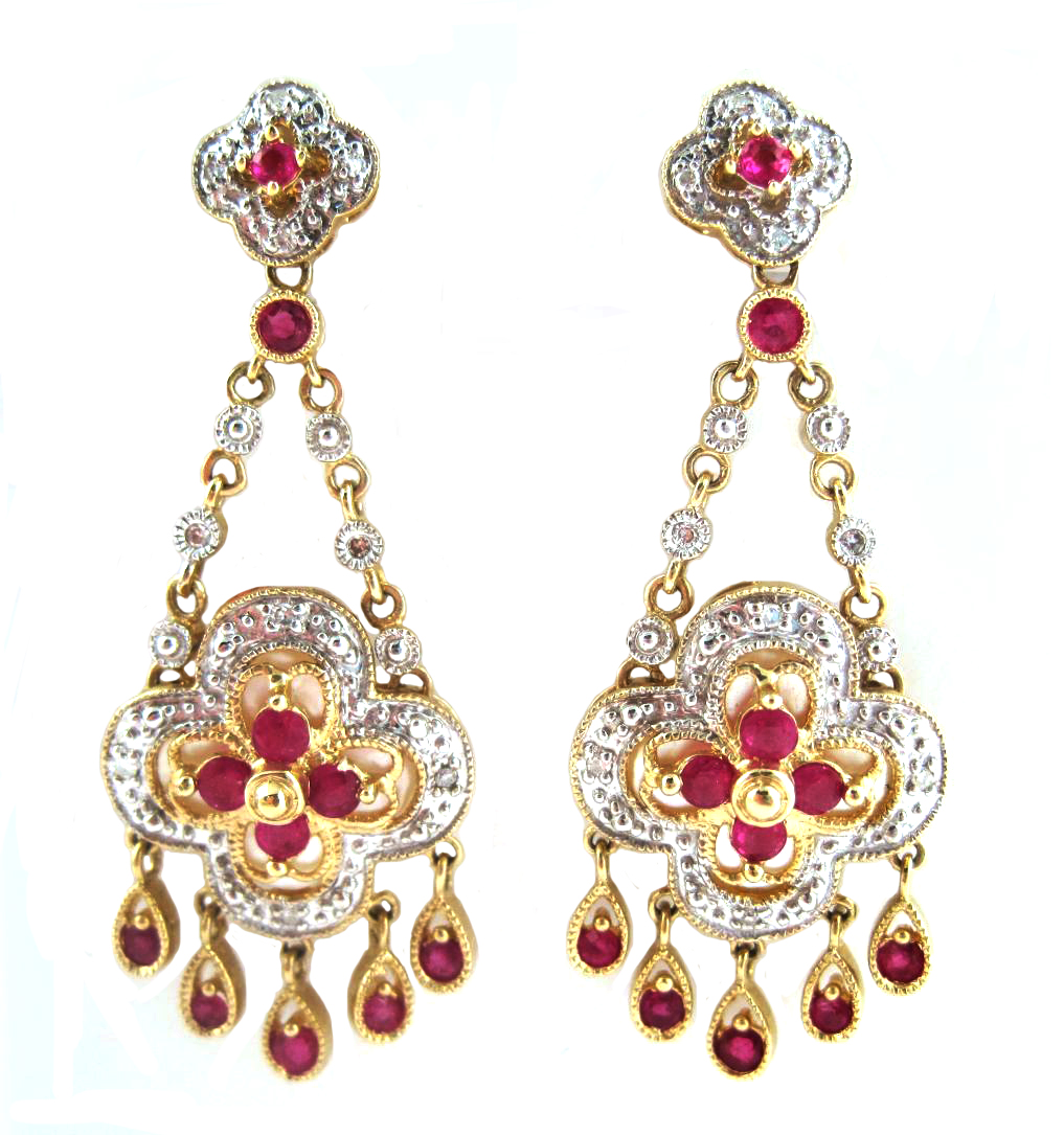 Antique Mughal Jewelry Diamond Ruby and Gold Floral Earrings