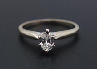 Clear Diamond Solitaire White Gold Ring