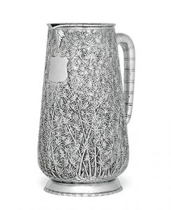 Chinese Export Silver Pitcher with Bamboo Design, Mark of Hoaching