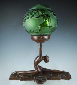 Art Deco Frankart Nude Green Glass Globe Lamp