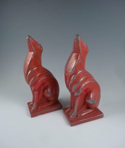 Frankart White Metal Red Art Deco Greyhound Bookends