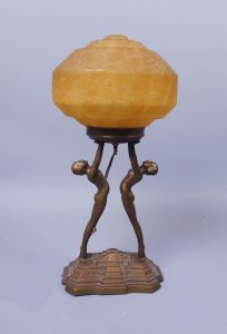 Double Art Deco Nude Glass Globe Lamp