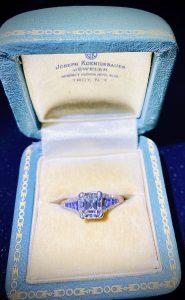 asscher cut diamond ring in box