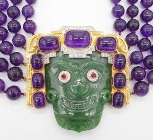David Webb Ancient World Aztec Head Necklace