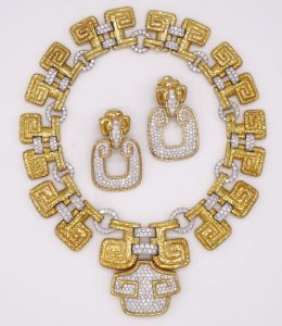 David Webb Ancient World Scroll Necklace and Earrings