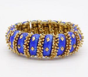 David Webb Blue Enamel Bracelet