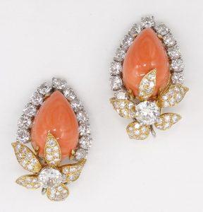 David Webb Angel Skin Coral and Diamond Earrings